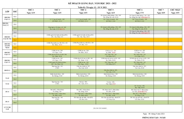 Thời khóa biểu tuần 01(năm học 2021-2022)